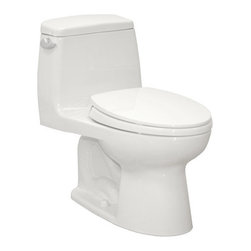 """Toto - Toto MS854114ELG#01 Cotton Eco UltraMax Eco UltraMax One Piece - 1.28GPF ADA Compliant One-Piece Elongated Toilet with SanaGloss and SoftClose Seat When it comes to Toto, being just the newest and most advanced product has never been nor needed to be the primary focus. Toto s ideas start with the people, and discovering what they need and want to help them in their daily lives. The days of things being pretty just for pretty s sake are over. When it comes to Toto you will get it all. A beautiful design, with high quality parts, inside and out, that will last longer than you ever expected. Toto is the worldwide leader in plumbing, and although they are known for their Toilets and unique washlets, Toto carries everything from sinks and faucets, to bathroom accessories and urinals with flushometers. So whether it be a replacement toilet seat, a new bath tub or a whole new, higher efficiency money saving toilet, Toto has what you need, at a reasonable price. ADA Height, sleek high profile elongated one piece toilet with 12"""" rough-in. E-Max Low consumption (4.8 Lpf/1.28 Gpf) siphon jet flushing action. Tank cover, fittings, chrome plated trip lever and SoftClose seat included.  Sleek high profile one piece toilet ADA Compliant E-Max (1.28 Gpf/4.8 Lpf) SanaGloss: Super smooth, ion barrier glazing cleans your toilet bowl with every flush Complete with SoftClose seat, or upgrade to a Washlet Fast Flush: Wide 3"""" flush valve is 125% larger than conventional 2"""" flush valves Wider, 2 1/8"""" computer designed, fully glazed trapway Large water surface Dimensions: 16.5""""W x 28.25""""L x 29.25""""H"""