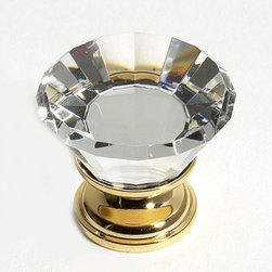 24K Gold Plated Finish 30mm (1-3/16in) Flat Top 31% Leaded Crystal Knob - This unique crystal knob has a flat top and a solid brass composition along with a 24K gold plated finish.