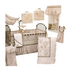 Cotton Tale Designs - Lollipops and Roses 8pc Crib Bedding Set - Lollipops & Roses 8pc crib bedding by Cotton Tale Designs is a graceful collection of pinks, cream, and tan.