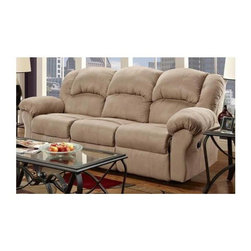 Chelsea Home - Ambrose Transitional Reclining Sofa - 100% polyester microfiber upholstery. 1.8 density foam cushions. Sturdy frame. All joints pinned and glued for uniformity and strength. High resilience seat foam for superior durability and comfort. 11 gauge sinuous springs back which are engineered to provide lasting comfort and strength. 8 gauge sinuous wire springs for superior ride and comfort seat. Can be unassembled to fit in home. Toggle push button mechanism. Made from hardwood, softwood and engineered wood. Sensations camel finish. Made in USA. 93 in. L x 41 in. W x 39 in. H (225 lbs.)