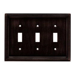 Liberty Hardware - Liberty Hardware 64408 Beaded WP Collection 6.85 Inch Switch Plate - The Beaded design adds elegance and sophistication to every room. The Venetian Bronze finish brings distinguished style and grace to any room. Quality zinc die cast base material. Available in the 10 most popular wall plate configurations. Width - 6.85 Inch, Height - 5 Inch, Projection - 0.3 Inch, Finish - Venetian Bronze, Weight - 0.75 Lbs.