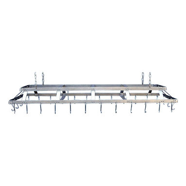 """HSM - 72 Inch Commercial Hanging Stainless Steel Pot Rack, Stainless Steel, With Grid - Dimensions: 72"""" W x 23"""" W x 6-1/2"""" H"""