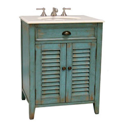 Abbeville Bathroom Sink Vanity, Blue - I love the shutter doors and worn patina on this cottage-style vanity. Plus, the turquoise blue evokes memories of the beach.