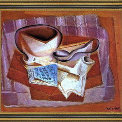 """Art MegaMart - Juan Gris Bowl  Book and Spoon - 20"""" x 25"""" Framed Premium Canvas Print - 20"""" x 25"""" Juan Gris Bowl  Book and Spoon framed premium canvas print reproduced to meet museum quality standards. Our Museum quality canvas prints are produced using high-precision print technology for a more accurate reproduction printed on high quality canvas with fade-resistant, archival inks. Our progressive business model allows us to offer works of art to you at the best wholesale pricing, significantly less than art gallery prices, affordable to all. This artwork is hand stretched onto wooden stretcher bars, then mounted into our 3 3/4"""" wide gold finish frame with black panel by one of our expert framers. Our framed canvas print comes with hardware, ready to hang on your wall.  We present a comprehensive collection of exceptional canvas art reproductions by Juan Gris."""