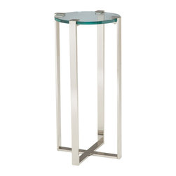 Sterling Industries - Sterling Industries 6041037 Uptown Plant Stand - A Contemporary Plant Stand For Our Uptown Series.  Gorgeous Heavy Glass Top Grasped By Polished Nickel Frame.  Made Of Metal And 19Mm Glass.  Plant Stand (1)