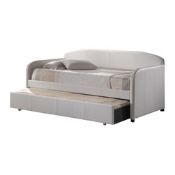 Hillsdale Furniture - Springfield Daybed in White Faux Leather w Tr - Includes Daybed, Suspension Deck, and Trundle. Mattress not included. White Faux Leather. Assembly Required. Daybed: 84 in. L x 42 in. D x 43 in. H. Trundle: 77.25 in. L x 12 in. D x 6.5 in. HWhether you choose it for a teens bedroom or need it as a guest bed in your office or den, the Springfield daybed is a marvelously modern solution.The easy to care for faux leather and rounded edges add to this daybeds allure.�� The matching trundle offers even more space for sweet dreams.