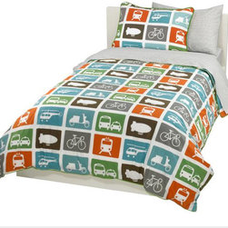 DwellStudio Transportation Duvet Set | Dwell Studio - Beep Beep! This duvet set has  loads of fun bold graphics for a child's room and its grid pattern keeps things modern.