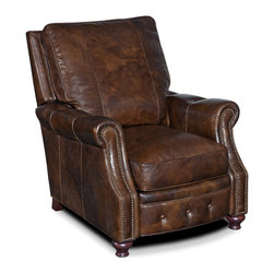 Hooker Seven Seas - Hooker Seven Seas Brown Leather Recliner Arm Chair - Brown genuine leather upholstery