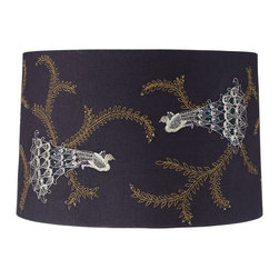 """Lamps Plus - Contemporary Embroidered Peacock Drum Lamp Shade 15x16x10.5 (Spider) - Wrapped in midnight navy blue cotton fabric with an embroidered peacock design this exotic lamp shade comes in a drum shape and is easy to install on any new or existing light. Iridescent blue and green sequins accent the peacocks while clear beads decorate the leaves. This hardback shade comes unlined and the spider fitter within is a coated in a sparkling chrome finish. Drum lamp shade. Embroidered peacock design with sequins and clear beads. Midnight navy blue cotton fabric. Unlined. Chrome spider fitter. 15"""" across the top. 16"""" across the bottom. 10 1/2"""" on the slant.  Drum lamp shade.  Embroidered peacock design with sequins and clear beads.  Midnight navy blue cotton fabric.  Unlined.  Chrome spider fitter.  15"""" across the top.  16"""" across the bottom.  10 1/2"""" on the slant."""