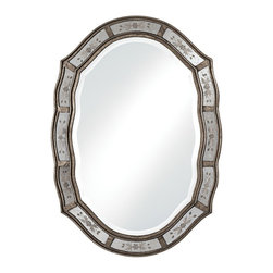 """Uttermost - Casual Uttermost Fifi Etched 34"""" High Wall Mirror - The delightful shape alone will enhance any wall. The outer frame is finished in antique gold with etched antique mirrors. The center main mirror has a generous 1 1/4"""" beveled edge. This design recalls wonderful adaptations of classics from the past. From the Uttermost mirror collection. 34"""" high. 24"""" wide. 1"""" deep.  Antique gold finish.  Outer border of etched glass.  Design by Uttermost mirrors.  1 1/4"""" beveled edges.  24"""" wide.   34"""" high.   1"""" deep."""