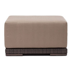 Grandin Road - Park Island Outdoor Ottoman - All-weather polypropylene weave over weather-resistant aluminum frames. Select an Armchair, Corner Chair, Middle Chair, or Ottoman; each piece is sold separately. Included natural-hued cushions are wrapped in water- and UV-resistant fabric. All pieces arrive assembled. Clean surfaces with a dry cloth; cushions with a damp cloth and mild fabric cleaner. Create your own collection with the versatile, overstuffed style of our Park Island Outdoor seating Collection. Modular pieces rearrange effortlessly, so you can transform your setting from an afternoon lounge to an evening celebration in moments. Natural-hued cushions complement the mocha-hued, all-weather woven forms.. . . . . Imported.