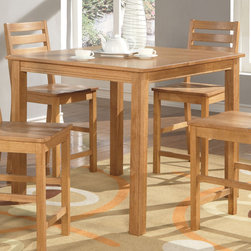 """East West Furniture - Cafe Pub, Counter Height Square Table - Natural Oak Finish - Cafe Pub, Counter Height Square Table - Natural Oak Finish; Sleek, satiny finished wood sets for easy-care elegance.; Square counter height tabletop accommodates family meals in kitchen or dining room.; Square-edge table top with beading detail reflects craftsman design.; Chunky butcher-block table legs add a solid farmhouse flair to the contemporary dinette look.; Weight: 68 lbs; Dimensions: 42""""L x 42""""W x 36""""H"""