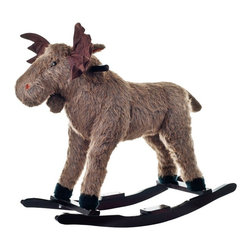 Trademark Global - Happy Trails Plush Rocking Max Moose - Hand crafted. Sturdy wooden rockers stand. Age group: 3-4 years. Made from wood. 30.5 in. W x 20.5 in. D x 28.5 in. H (11 lbs.)This soft, plush Rocking Max Moose from Happy Trails™ is sure to be your child's favorite toy. It is hand crafted with a wood core and stands on sturdy wooden rockers. It even makes growling sounds! All with only a touch of its ear!