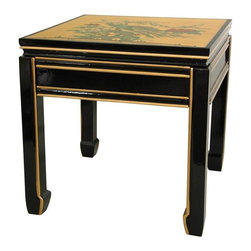 Oriental Furniture - Gold Leaf Square Ming Table - This distinctive small end table was crafted in an family owned artisan collective in Guangdong.  The top is gilded with authentic gold leaf and hand painted with an exotic bird and flowers scene, while the sides are decorated with leaves, vines, and flowers. Finished with a rich black lacquer, this heirloom quality table will bring an beautiful, authentic Asian elegance to your home.