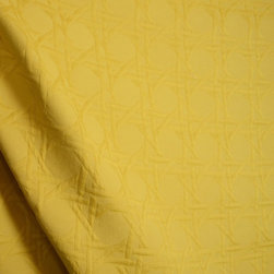 Braemore - Palmetto Mimosa Matelasse Wicker Cane Trellis Fabric By The Yard - Solid golden yellow in color, Palmetto Mimosa is an oriental matelasse upholstery fabric with a large scale wicker, caned trellis pattern.  This fabric would be good to use to reupholster, bedding and more.