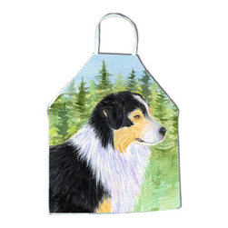 Caroline's Treasures - Australian Shepherd Apron SS8316APRON - Apron, Bib Style, 27 in H x 31 in W; 100 percent  Ultra Spun Poly, White, braided nylon tie straps, sewn cloth neckband. These bib style aprons are not just for cooking - they are also great for cleaning, gardening, art projects, and other activities, too!