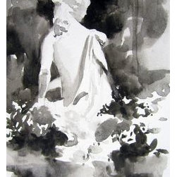 """""""Timeless Beauty"""" (Original) By Linda D'Urbano - There Is Something About Statuary That Is So Compelling. This Piece Began As A Study, But I Just Loved The Effect; Color Would Have Diminished It. The Subject'S Graceful Gesture And The Delicate Flowers Reflect A Softness And Vulnerability That Contrast The Notion Of Her Being Made Of Stone."""