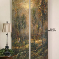 2 Hand Painted Forest Depiction Art Pieces - These frameless, hand painted oils on burlap canvas