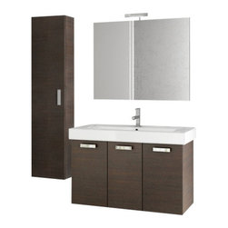 ACF - 40 Inch Wenge Bathroom Vanity Set - Set Includes: Vanity Cabinet (3 Doors), high-end fitted ceramic sink, wall mounted vanity mirror, tall storage cabinet.