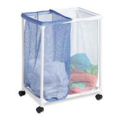 Honey Can Do - Double Bag Laundry Hamper - An economical laundry solution, this rolling hamper has two compartments to make sorting laundry a breeze. Sturdy, washable mesh bags let clothing breathe and helps keep mildew at bay. Bags are removable and feature a drawstring closure that prevents spilling and doubles as a carrying strap making them quick and easy to transport. Smooth rolling casters on a PVC frame make this sorter light and easy to maneuver. Whether you're going all the way to the laundromat or just down the hall, this mesh laundry sorter will get you there in comfort and style.