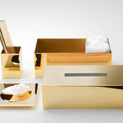 Modo Bath - Harmony Gold Tissue Box - Harmony 509 Tissue Box in Gold, Tissue Box In Gold Wall-Mounted or Free Standing with rectangular opening, Made in Germany