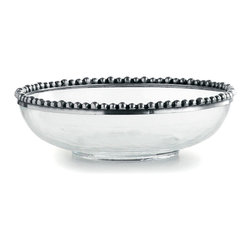 Tesoro Pasta/Soup Bowl - Handmade in Italy, this stunning glass bowl is an unusual treatment, displaying the contents through translucent walls of mouth-blown glass and crowning them with an artisan touch: a beaded rim of hand-finished pewter placed in oversized drops.  The Tesoro Pasta and Soup Bowl complements any collection of glass, ceramic, or china tableware with its versatile look.