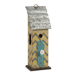 iMax - Lylia Antique Birdhouse - Add a touch of whimsy to your sunroom or covered garden with the Lylia birdhouse. Painted in bright colors with a bold chevron pattern, accented with an antique styled doorknob and a corrugated tin roof, this birdhouse is full of cheer.