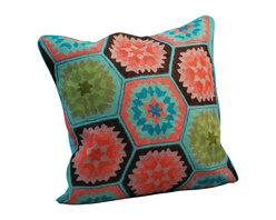 Modelli Creations - Crewel Work Pillow Vintage, Blue - Made in India. Cotton/polyfill. Dry clean only.