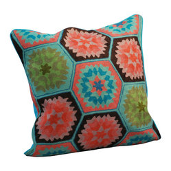 Crewel Work Pillow Vintage