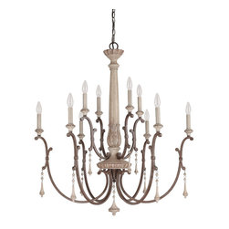 Capital Lighting - French Oak Chateau 10 Light Chandelier - Number of Bulbs: 10