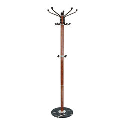 "ecWorld - Urban Designs Percha 70"" Coat Rack with Marble Base - Brown - Relieve your guests of their accouterments in style with The Casa Cortes Percha coat rack. Crowned with 10 hooks at the top for outerwear, mid level hooks for umbrellas and purses a must have addition to any home decor."