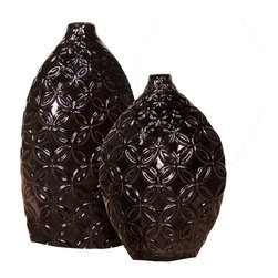 Howard Elliott - Glossy Black Floral Textured Ceramic Vases - Set of 2 - Glossy Black Floral Textured Ceramic Vases - set of 2. Glossy Black. 9 in. x 5 in. x 13 in. H / 7 in. x 5 in. x 15 in. H