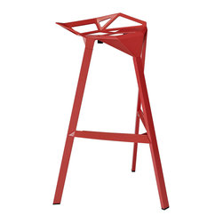 Modway - Launch Bar Stool Stacking Chair in Red - Listening is an artform with this bar stool that encourages positive social engagement. While surprisingly comfortable to sit upright in, Launch also reminds you to lean forward and smile. It is an edgy piece, that conveys both a sense of minimalist modernism, and a willingness to enter the future. Made of a coated aluminum frame with non-marking feet, Launch comes fully-assembled and stackable for easy use.
