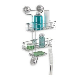 Interdesign - Interdesign Power Lock Ultra 3-Tier Shower Caddy in Silver - This small but mighty shower caddy has two room shelves, plus a soapdish and lots of hooks. The suction cups get extra strength from gets extra strength from a twist that secures them to a surface.