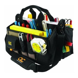 """Custom Leathercraft - Tool Bag 15 Pkt 16In Tray - 8 pockets outside and 7 inside to organize a wide range of tools and accessories. Main pocket with web loops to  accommodate large handle tools. 13 1/2""""x 9"""" Multi-compartment plastic tray included, stored into middle compartment for easy access to the res  t of bag contents.  Extra padded carrying handles and adjustable shoulder strap. Metal tool snap and electrical tape strap. Over- all dimensions: 16""""L x 9""""W x 9""""H."""