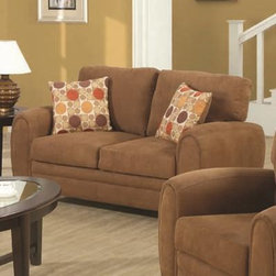 Sibley Contemporary Love Seat With Tapered Wood Feet And Tapered Track Arms - Sibley Contemporary Love Seat With Tapered Wood Feet And Tapered Track Arms by Coaster