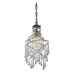 Elk Lighting - Rust Crystal Single Light Down Lighting Mini Pendant from the Elise Collection - Single light down lighting mini pendant featuring crystal beading