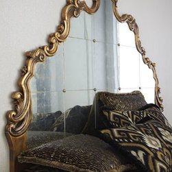 """John-Richard Collection - John-Richard Collection Boushant Queen Headboard - Hand-carved wood with an antiqued gold finish. Antiqued mirrored insets have gold backing and brass rosette accents. Wall-mount design; hardware and instructions included. 64""""W x 2""""D x 46""""T."""