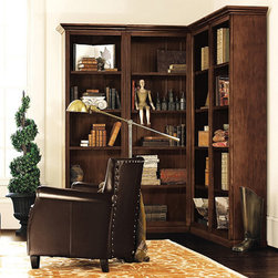 Ballard Designs - Tuscan Corner Bookcase Set - 4 Piece - Left Bookcase (1 piece). Right Bookcase (1 piece). 1 Corner Bookcase (2 pieces). Our Tuscan Collection offers the custom versatility and finishing of a built-in at a fraction of the cost so you can utilize every square inch of space. Crafted of wood & wood veneers. Reeded detail and heavy crown molding add to the rich antique feel. Set includes:. . .