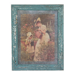 Oriental Furniture - Rustic Mother & Child Garden Framed Picture - Faded printed image of a mother and daughter gardening in elaborate dresses. Features a beveled and mitered wood frame with hand applied faux-antiqued blue finish. Image is surrounded within the frame by a blue-gray border. Elegant vintage art decor for an eclectic, shabby-chic, or traditional room in the home. Brass mounting hardware is included on the back.
