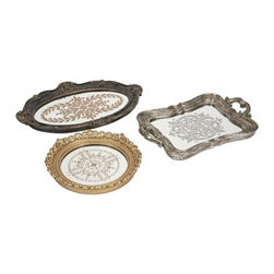 "IMAX - Hallet Trays - Set of 3 - These modern castings inspired by antique pewter tea trays, are a beautiful addition to a buffet or curio cabinet. Item Dimensions: (10.5-11.25-18""h x 15.25-11.25-12.25""w x 2-1.75-1.25"")"
