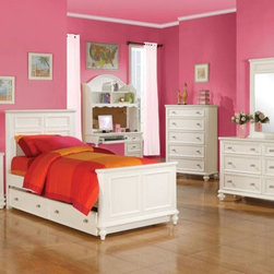 Acme Furniture - Athena Transitional Youth White 5 Piece Full Bedroom Set - 3000 - Set includes Full Bed, Dresser, Mirror, Nightstand and Chest