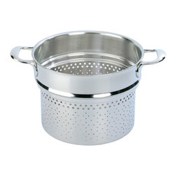 Demeyere - Atlantis Pasta Insert, 8 Quart - Made for use with the Demeyere Atlantis 8 qt. stockpot, this unique pasta inserts high rim prevents pasta from foaming up and boiling over. Durable, non-reactive 18/10 stainless steel, dishwasher safe. Made in Belgium.
