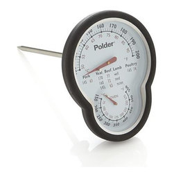 Polder® Dual Sensor Oven Thermometer - Clever combination thermometer with two sensors simultaneously measures both oven and internal meat temperatures for optimal results. USDA cooking chart with suggested doneness temperatures is printed on the face for convenience. Large, easy-read deal indicates meat temps from 120 to 200 degrees Fahrenheit, oven temps from 150 to 550 Fahrenheit. Silicone grips assure comfort when handling.