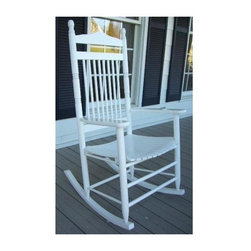 Dixie Seating - Standard Slat Porch Rocking Chair in White Fi - Designed for both indoor or outdoor use, this classic rocking chair will be an inviting choice for any front or back porch. Ideal for enjoying a glass of lemonade on a warm summer day. Classic indoor and outdoor standard adult slat porch rocking chair. Made of solid ash hardwood. Made in the USA. Ready to assemble format. Minimum assembly required. Underside is unsanded. 25 in. W x 19 in. D x 42 in H