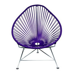 "Innit - Innit Acapulco Chair - Purple Weave on Chrome Frame - ""Relax in cool, contemporary style with this hot-weather Acapulco lounge chair from Innit Designs. Whether enjoying a tropical sunset from the patio or lounging poolside with friends, the chair combines comfort with an eye-catching design. Inspired by the airiness of backyard rope hammocks, the 1940s-style Acapulco lounge chair uses a traditional Mayan weaving technique to create a modern take on the classic woven chair. The chair's waterproof, UV-resistant vinyl cord comes securely wrapped around its recycled, rust-resistant, galvanized-steel frame, which provides a semi-textured polyester powder-coat for long-lasting durability and good looks from one season to the next. The Acapulco lounge chair's woven vinyl not only offers visual appeal and breathability, but also exceptional support and comfort (no cushion needed). The Acapulco lounge chair works well as an accent piece on its own or to create a visiting area when paired with more than one (additional chairs sold separately). Keep all the chairs the same color to complement surrounding decor, or mix it up for a bold, vibrant color scheme that reflects your personal sense of style. The Acapulco lounge chair comes in a vast array of vibrant colors.Dimensions: 30"""" wide by 35"""" deep by 35"""" high with 14"""" sitting heightModern lounge chair with woven UV-resistant vinyl cord for breathability and supportRust-resistant, galvanized-steel frame and semi-textured polyester powder coatWeatherproof, stackable, and easy to cleanPear-shaped frame and tripod base; for indoor/outdoor and residential/commercial use"""