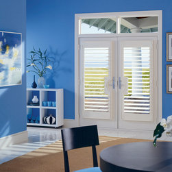 Hunter Douglas - Composite Plantation Shutters - Two Blind Guys Shutter Company - Missouri - These beautiful French Doors have Hunter Douglas Plantation Shutters on them. For quality, American made products, check out Hunter Douglas Shutters. Great product!!
