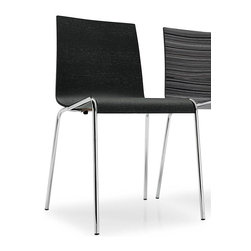 Calligaris - Online Minimalist Chair (Set of 2) (Chromed) - Finish: ChromedGraphite finish seat. Pictured in Chrome. Modern minimalist design, suitable for living areas or kitchens. Made from a single curved plywood sheet. Elegant frame features 4 slender yet sturdy metal legs. Stackable up to 6 chairs high. Matches all styles of interior, whether classic or modern. Assembly required. Seat height: 17.75 in. H. 20.5 in. W x 18.5 in. D x 31.5 in. H