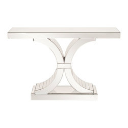 "Howard Elliott - Howard Elliott Capella Mirrored Console Table - This stunning mirrored console table features a unique base. This table is not only functional but will be conversational piece in any setting. The high-style design and high-end materials in the console tables are what set Howard Elliott apart from the competition. Howard Elliott's innovative product line is carefully designed and packaged to ensure low damage rates for their high quality and custom items. Finish/Frame/Fabric Description: Mirrored. Material: Glass/Wood. Product Dimensions: 46""W x 13""D x 30""H."
