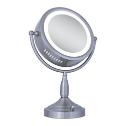 Zadro - Zadro Lighted 1X/8X Round Vanity Mirror In Satin Nickel-Rdv68 - The Lighted Round Vanity Mirror features a dual-sided, oval shaped, premium quality vanity mirror with two magnifications. On one side, an 8x magnification mirror allows you to see up-close and in detail, allowing for easy make-up application. The other side features a regular mirror with a 1x magnification that is great for checking your hair and make-up before you leave. Both sides of the mirror light up with super-bright incandescent lighting that lights up your entire face, allowing you to see the finest details in even the dimmest lighting.